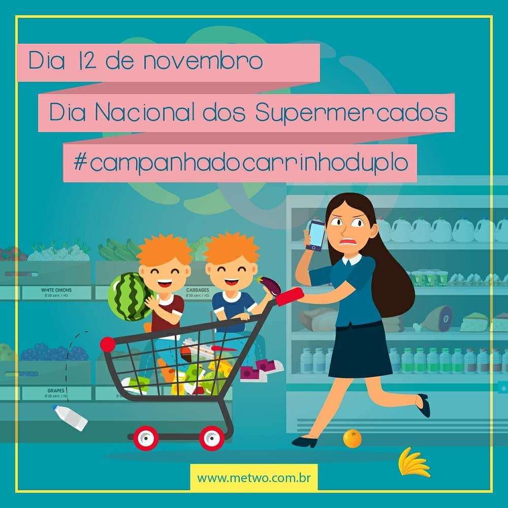 supermercado campanha carrinho duplo me two